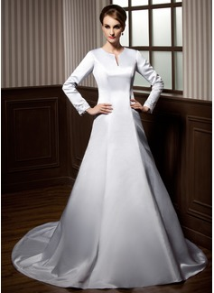 Corte A/Princesa Escote redondo Cola capilla Satén Vestido de novia con Bordado Los appliques