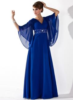 A-Linie/Princess-Linie V-Ausschnitt Bodenlang Chiffon Kleid für die Brautmutter mit Rüschen Perlstickerei Pailletten