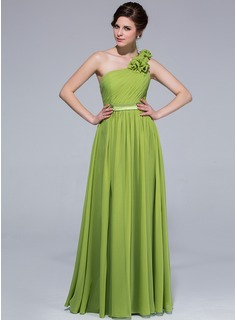 A-Line/Princess One-Shoulder Floor-Length Chiffon Charmeuse Bridesmaid Dress With Ruffle Flower(s)