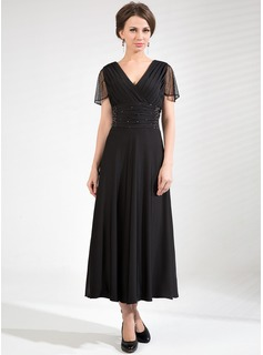 A-Line/Princess V-neck Tea-Length Tulle Jersey Mother of the Bride Dress With Ruffle Beading