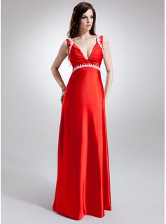 Empire V-neck Sweep Train Charmeuse Maternity Bridesmaid Dress With Ruffle Lace Beading