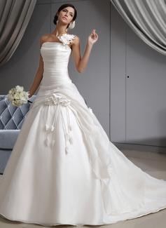 ثوب حفلة بكتف واحد ذيل كاتدرائي Organza فستان الزفاف مع كشكش زهرة