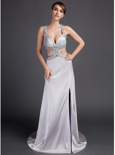 Sheath/Column Watteau Train Charmeuse Prom Dress With Beading Split Front