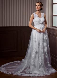 Corte A/Princesa Escote en V Cola capilla Satén Tul Vestido de novia con Encaje Bordado