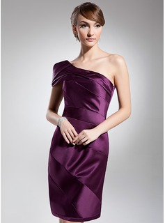 Sheath/Column One-Shoulder Knee-Length Satin Cocktail Dress With Ruffle