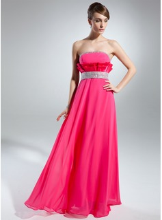 Empire Strapless Floor-Length Chiffon Charmeuse Prom Dress With Beading