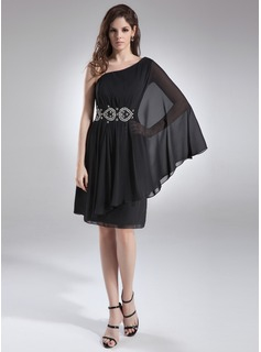 A-Line/Princess One-Shoulder Knee-Length Chiffon Cocktail Dress With Ruffle Beading