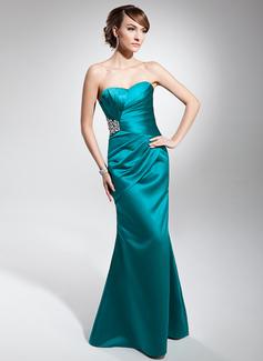 Mořská panna Srdcový výstřih Délka na zem Charmeuse Večerní šaty S Volán Zdobení korálky