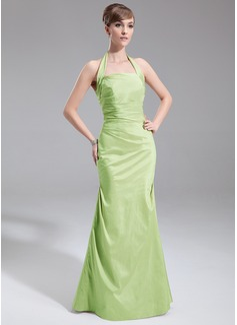 A-Line/Princess Halter Floor-Length Taffeta Bridesmaid Dress With Ruffle