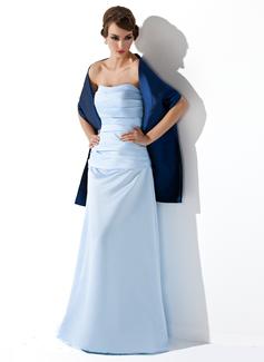 Etui-Linie Herzausschnitt Bodenlang Satin Brautjungfernkleid mit Rüschen