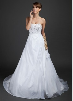 Ball-Gown Sweetheart Chapel Train Taffeta Organza Wedding Dress With Lace Beading Flower(s)