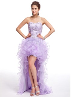 A-Line/Princess Sweetheart Asymmetrical Organza Prom Dress With Beading Appliques Lace Sequins Cascading Ruffles