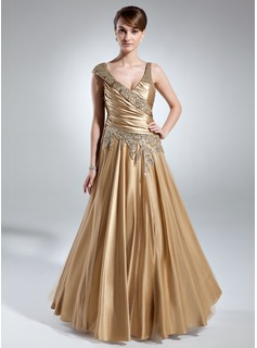 A-Line/Princess V-neck Floor-Length Tulle Charmeuse Mother of the Bride Dress With Ruffle Beading