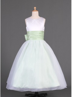 A-Line/Princess Floor-length Flower Girl Dress - Organza/Charmeuse Sleeveless Scoop Neck With Sash/Bow(s)