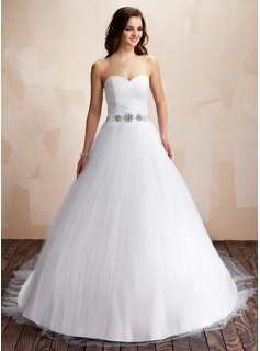 Ball-Gown Sweetheart Chapel Train Satin Tulle Wedding Dress With Ruffle Beading