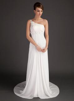 Corte A/Princesa Un sólo hombro Tren de la corte Chifón Vestido de novia con Volantes Bordado Flores