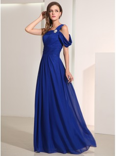 A-Line/Princess One-Shoulder Floor-Length Chiffon Holiday Dress With Crystal Brooch