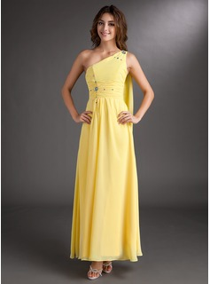 A-Line/Princess One-Shoulder Ankle-Length Chiffon Prom Dress With Ruffle Beading