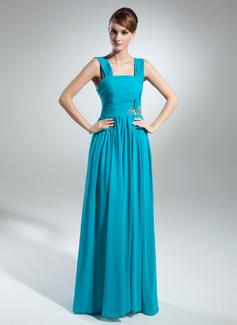 Çan/Prenses Askısız Uzun Etekli Chiffon Gelin Annesi Elbisesi Ile Büzgü Boncuklama