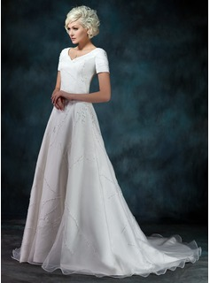 A-Line/Princess V-neck Court Train Organza Satin Wedding Dress With Beading Appliques