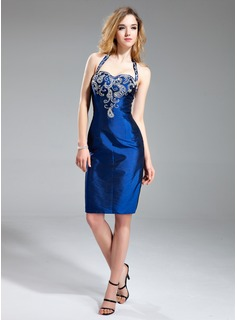 Sheath/Column Halter Knee-Length Taffeta Cocktail Dress With Beading