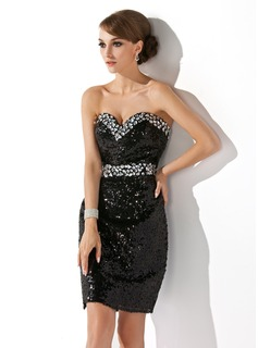 Sheath/Column Sweetheart Short/Mini Sequined Cocktail Dress With Beading