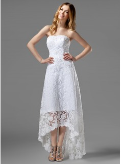 A-Line/Princess Strapless Asymmetrical Satin Lace Wedding Dress With Beadwork