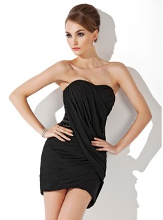 Forme Fourreau Bustier en coeur Court/Mini Mousseline Robe de cocktail avec Plissé Emperler