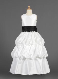 A-Line/Princess Scoop Neck Floor-Length Taffeta Flower Girl Dress With Sash Flower(s) Bow(s)