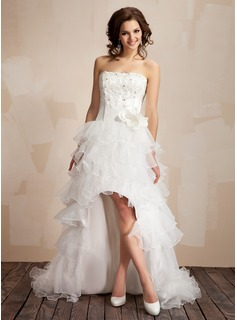 A-Line/Princess Strapless Asymmetrical Taffeta Organza Prom Dress With Lace Beading Flower(s)