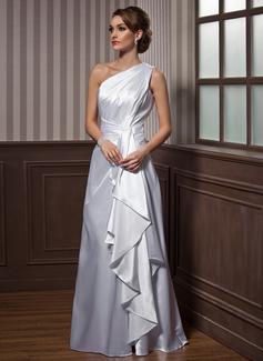 A-linjeformat One-Shoulder Golvlång Charmeuse Aftonklänning med Svallande Krås