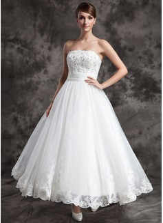 Corte A/Princesa Estrapless larga duración Organdí Satén Vestido de novia con Encaje Bordado