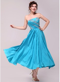 A-Line/Princess Strapless Ankle-Length Taffeta Prom Dress With Ruffle