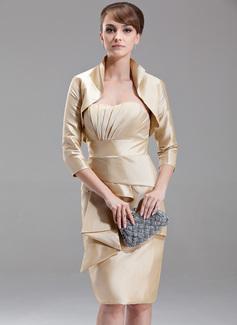 Etui-Linie Herzausschnitt Knielang Taft Kleid für die Brautmutter mit Gestufte Rüschen
