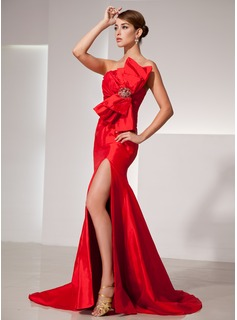 Trumpet/Mermaid Scalloped Neck Court Train Taffeta Prom Dress With Ruffle Beading Bow(s) Split Front