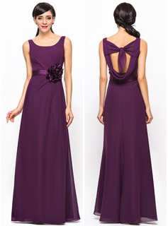 A-Line/Princess Scoop Neck Floor-Length Chiffon Bridesmaid Dress With Ruffle Flower(s)