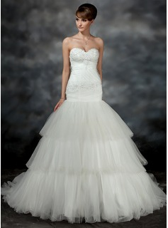 Trumpet/Mermaid Sweetheart Court Train Satin Tulle Wedding Dress With Ruffle Appliques Lace