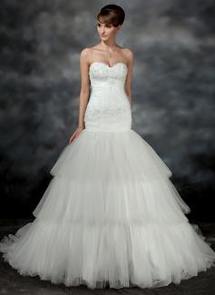 Forme Sirène/Trompette Bustier en coeur Traîne moyenne Satiné Tulle Robe de mariée avec Plissé Motifs appliqués Dentelle