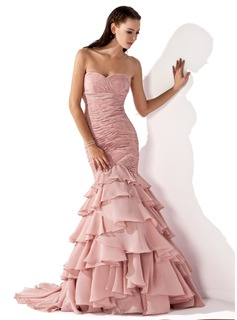 Mermaid Sweetheart Sweep Train Chiffon Evening Dress With Ruffle