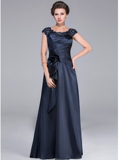A-Line/Princess Scoop Neck Sweep Train Tulle Charmeuse Mother of the Bride Dress With Ruffle Lace Beading Flower(s) Cascading Ruffles