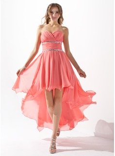 A-Line/Princess Sweetheart Asymmetrical Chiffon Homecoming Dress With Ruffle Beading (022009591)