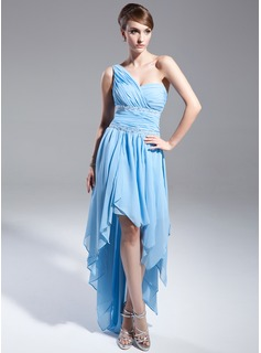 A-Line/Princess One-Shoulder Asymmetrical Chiffon Prom Dress With Beading Cascading Ruffles