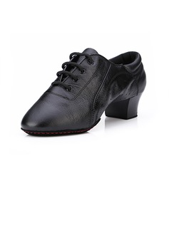 Women's Men's Kids' Leatherette Heels Pumps Practice With Lace-up Dance Shoes