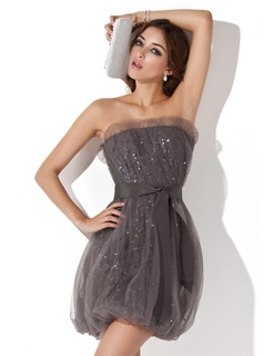 Sheath Scalloped Neck Short/Mini Tulle Cocktail Dress With Ruffle Sequins