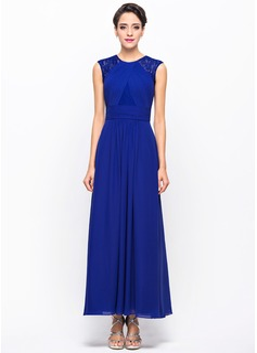 A-لاين أميرة عنق مدور طول الكاحل Chiffon Lace فستان سهرة مع كشكش