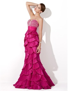 Trumpet/Mermaid Sweetheart Floor-Length Taffeta Prom Dress With Beading Sequins Pleated
