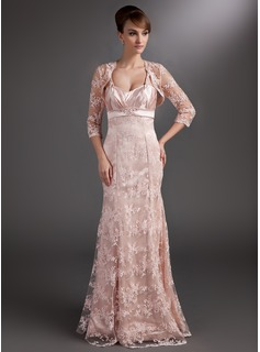 Trumpet/Mermaid Sweetheart Floor-Length Charmeuse Lace Mother of the Bride Dress With Ruffle Beading Sequins