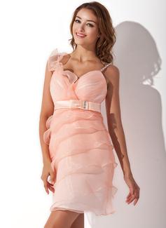 Sheath/Column Sweetheart Short/Mini Organza Homecoming Dress With Ruffle Beading Bow(s)