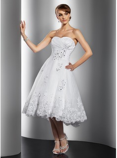 A-Line/Princess Sweetheart Tea-Length Taffeta Organza Wedding Dress With Ruffle Lace Beadwork Sequins (002014769)