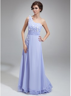 A-Line/Princess One-Shoulder Floor-Length Chiffon Prom Dress With Ruffle Flower(s)